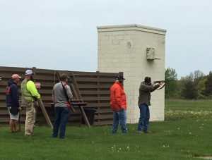 sporting clays 4 men shooting clay pigeons